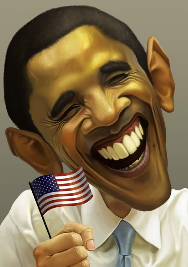 celebrity caricatures-obama