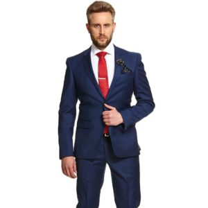 what to wear with a navy blue suit-navy blue suit with white shirt